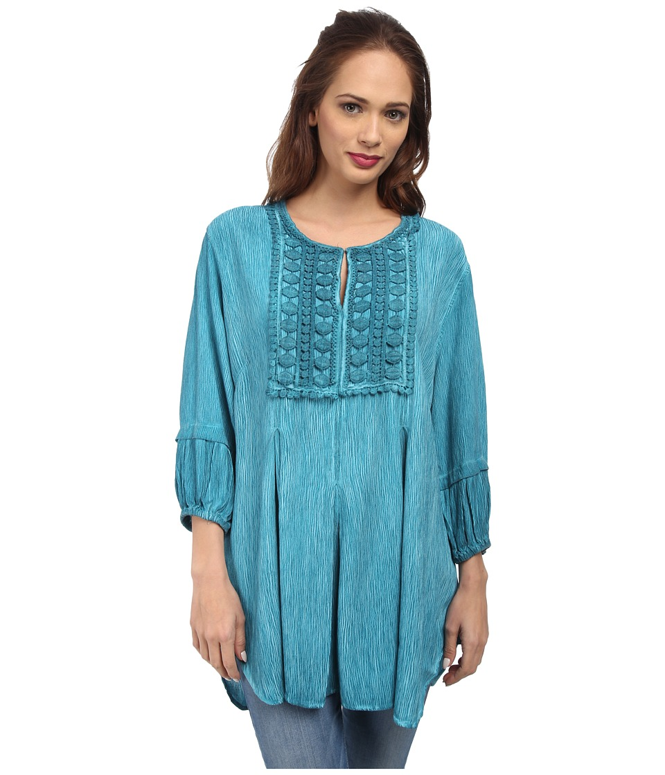Christin Michaels - Lace Embelished Crepe Top (Turquoise) Women's Clothing