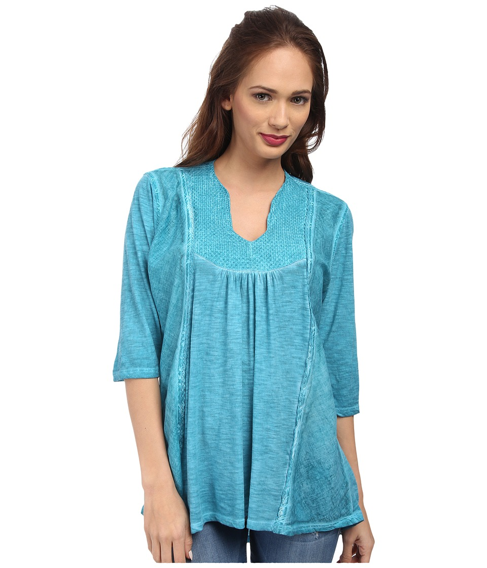 Christin Michaels - Embroidered Knit Top (Turquoise) Women's Clothing