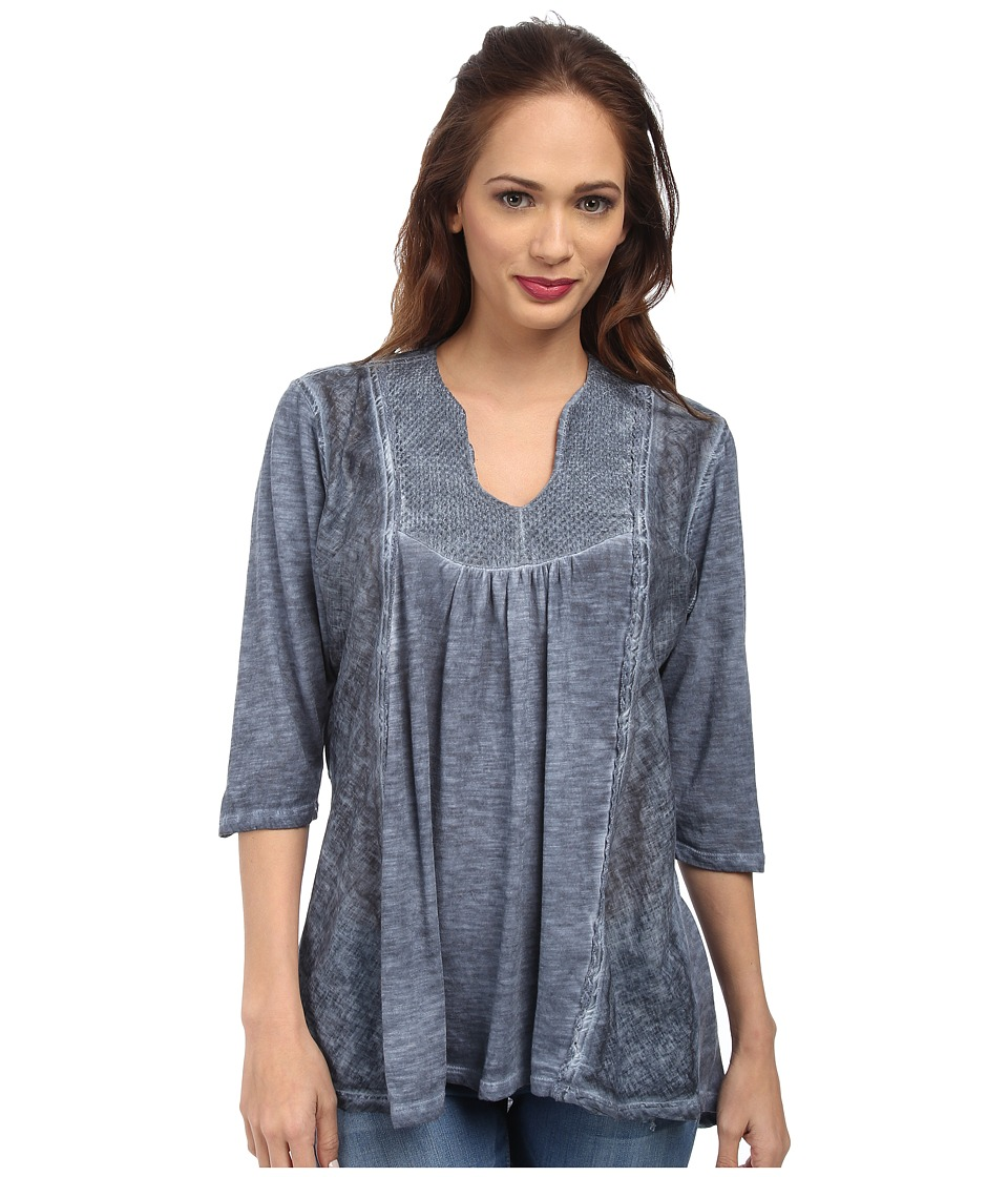 Christin Michaels - Embroidered Knit Top (Ocean) Women's Clothing