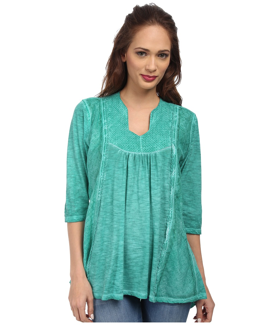 Christin Michaels - Embroidered Knit Top (Jewel) Women's Clothing