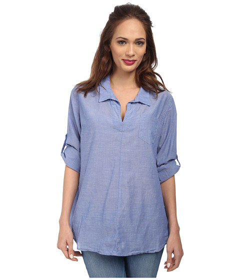 Christin Michaels - Cotton Chambray Shirt (Blue) Women's Clothing