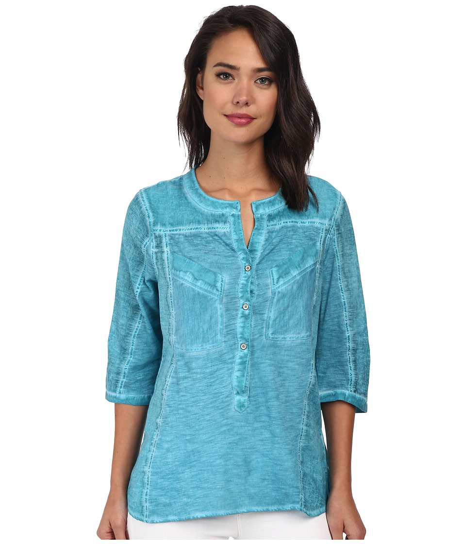 Christin Michaels - Knit Placket Top (Turqouise) Women's Long Sleeve Pullover