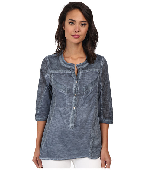 Christin Michaels - Knit Placket Top (Ocean) Women's Long Sleeve Pullover