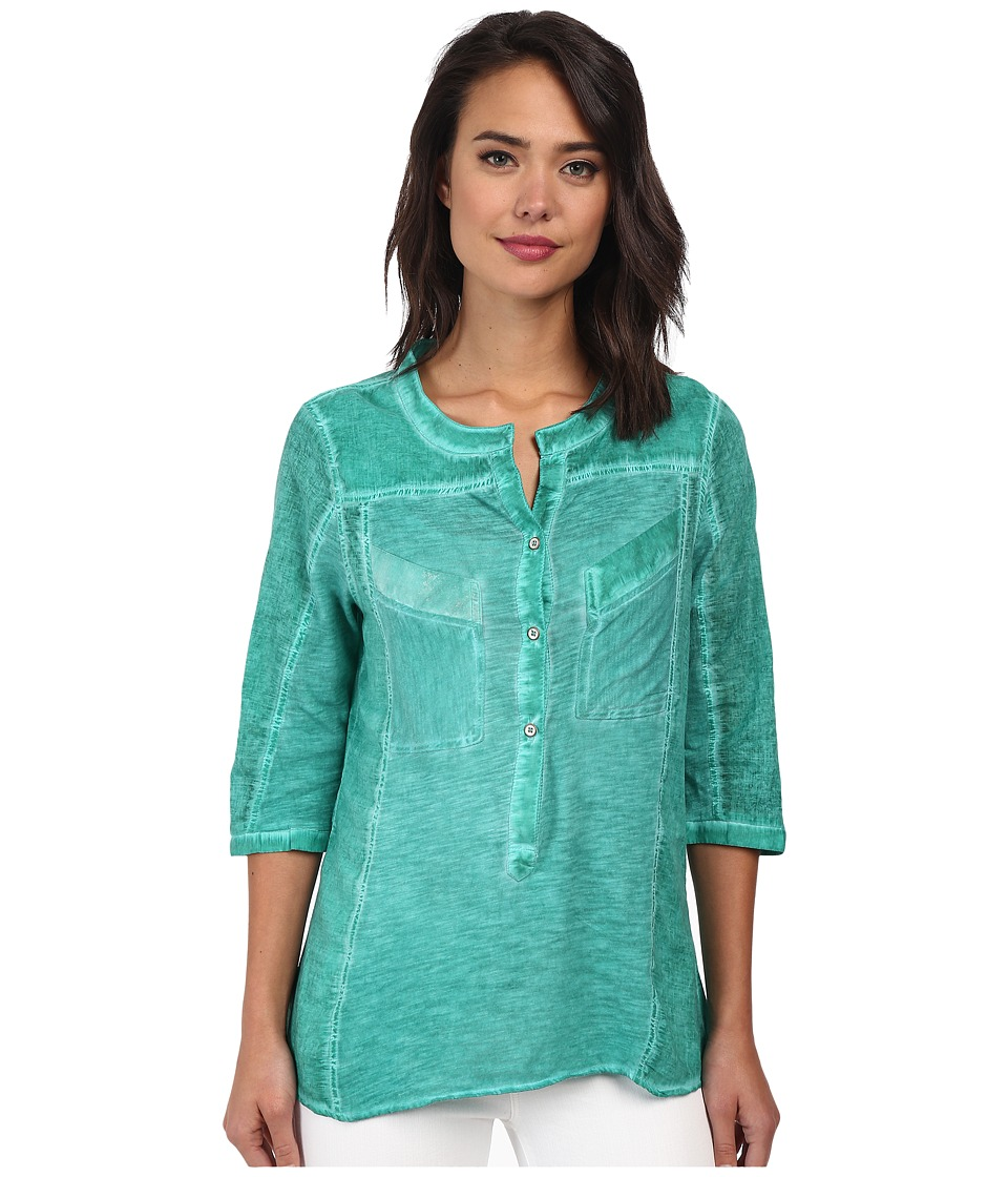 Christin Michaels - Knit Placket Top (Jewel) Women's Long Sleeve Pullover