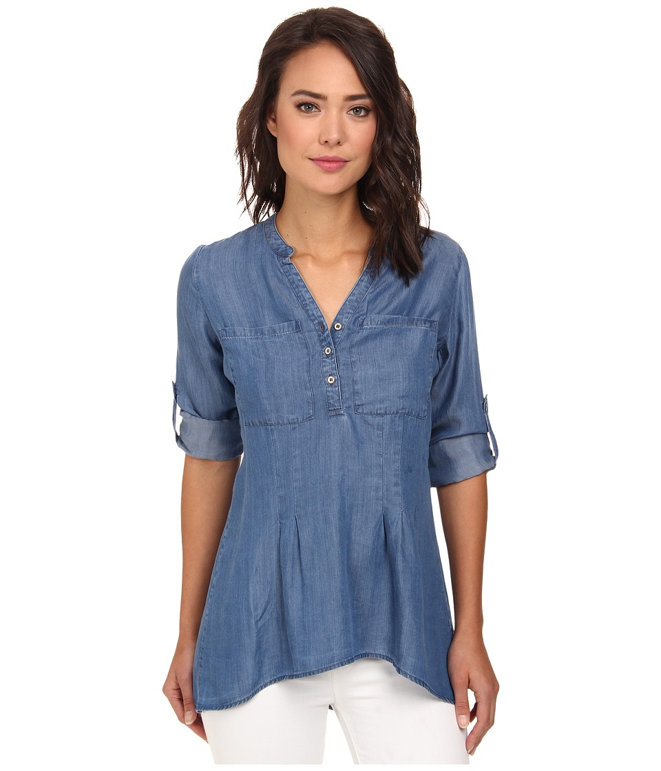 rsvp - Tencel Henley Top (Indigo) Women's Clothing