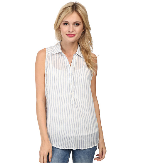 Paige - Diane Top (White/Seagull Blue) Women's Clothing