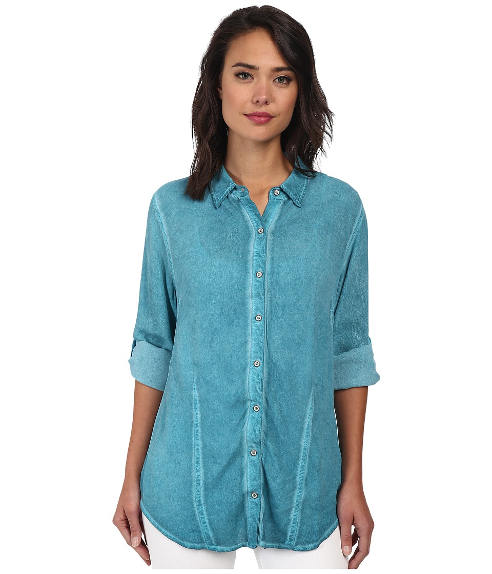 Christin Michaels - Hailey Button-Down Shirt (Turquoise) Women's Clothing