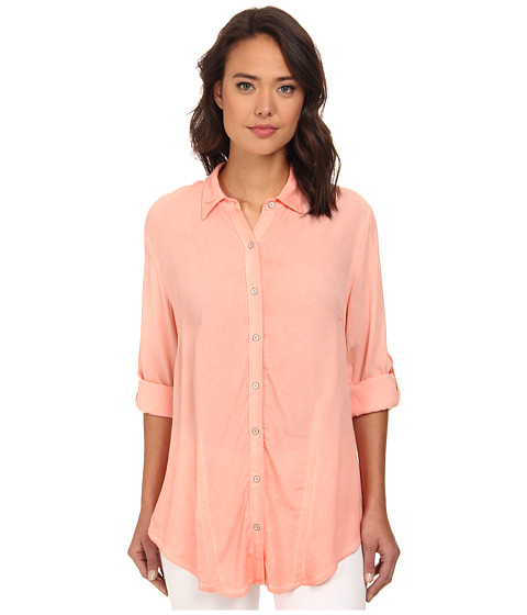 Christin Michaels - Hailey Button-Down Shirt (Coral) Women's Clothing