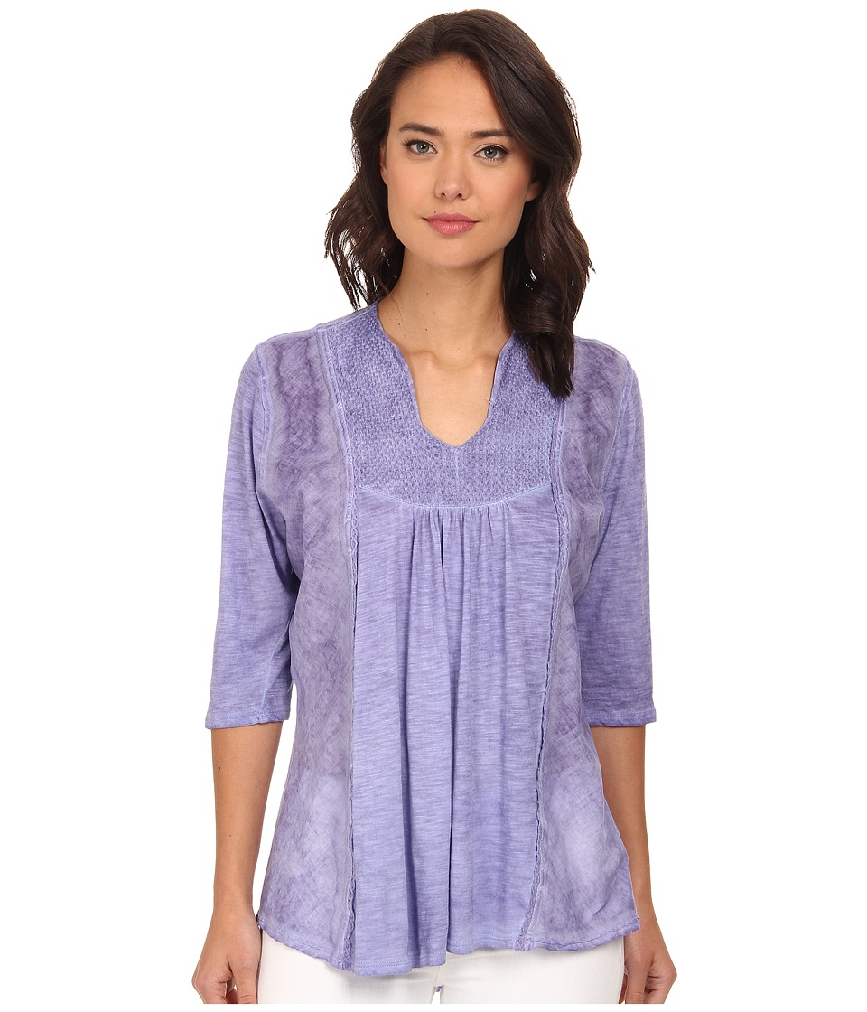 Christin Michaels - Embroidered Knit Top (Lilac) Women's Clothing