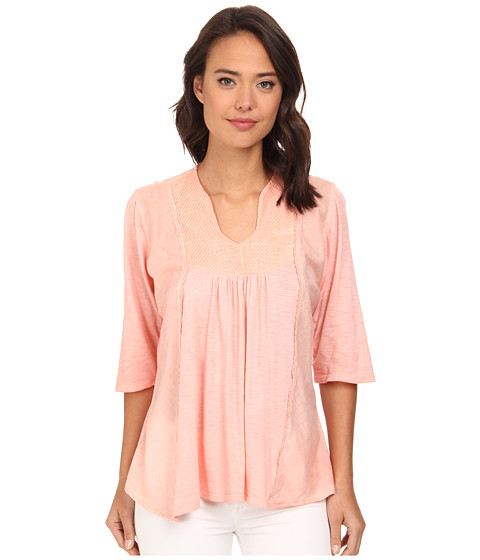 Christin Michaels - Embroidered Knit Top (Coral) Women's Clothing