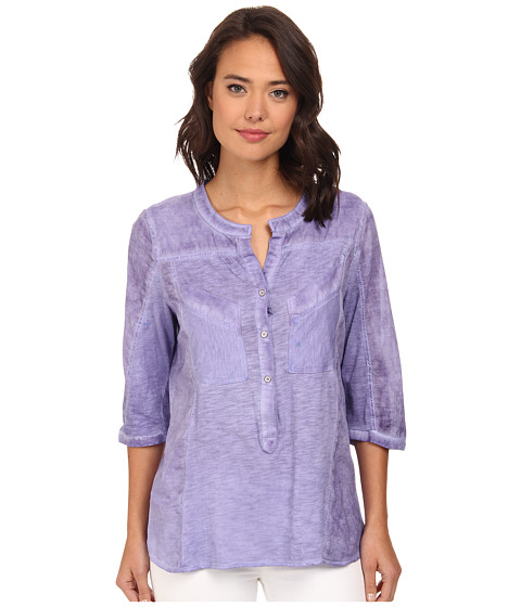 Christin Michaels - Knit Placket Top (Lilac) Women