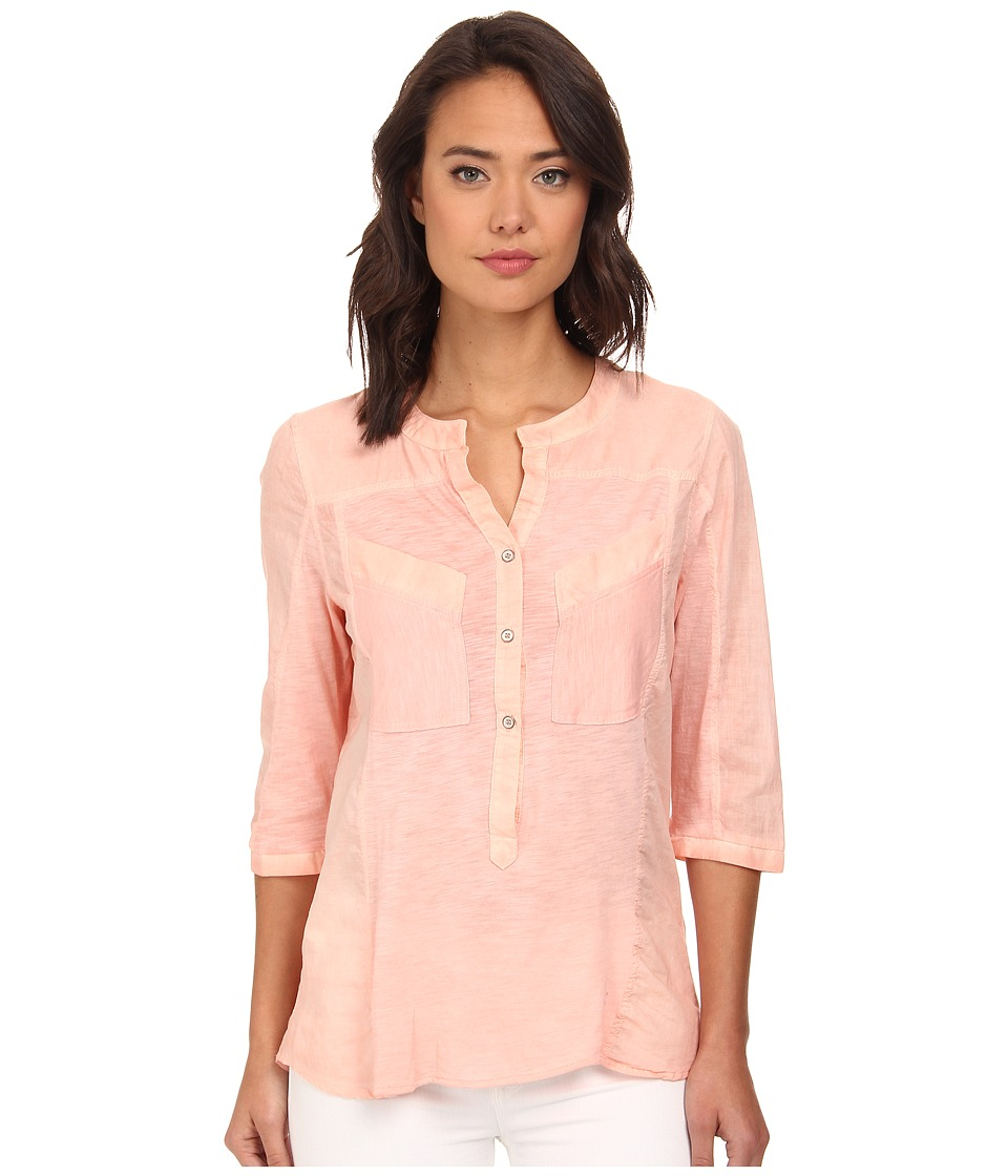 Christin Michaels - Knit Placket Top (Coral) Women's Long Sleeve Pullover