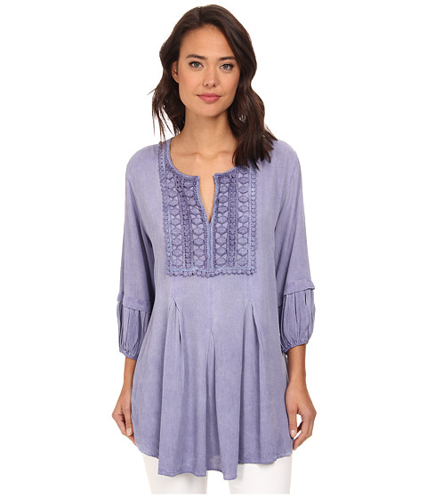 Christin Michaels - Lace Embelished Crepe Top (Lilac) Women's Clothing