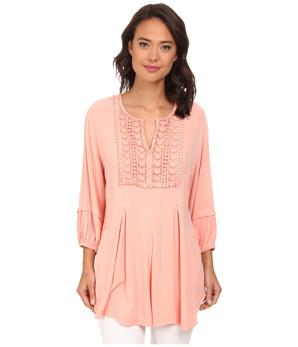 Christin Michaels - Lace Embelished Crepe Top (Coral) Women's Clothing
