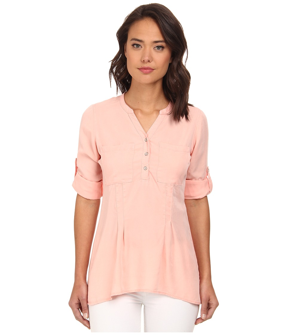rsvp - Tencel Henley Top (Coral) Women's Clothing