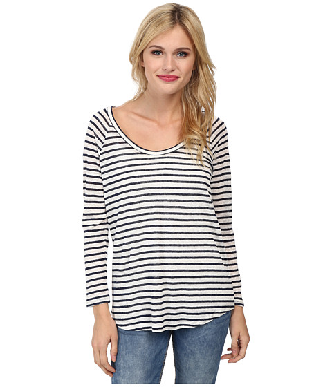 Paige - Sandy Top (White Dark Ink Blue Stripe) Women's Clothing