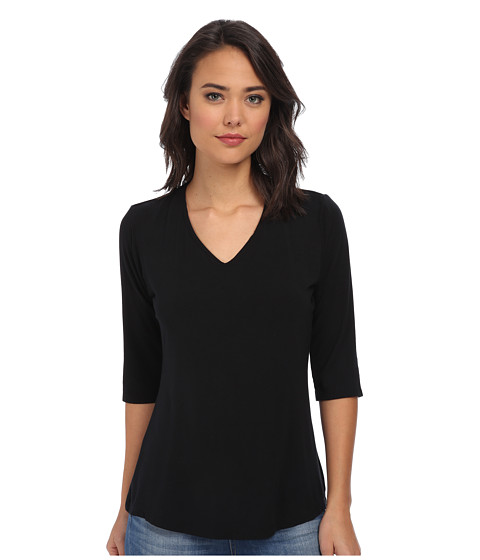 Culture Phit - Modal V-Neck Top (Black) Women's Clothing