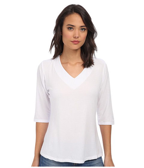 Culture Phit - Modal V-Neck Top (White) Women's Clothing
