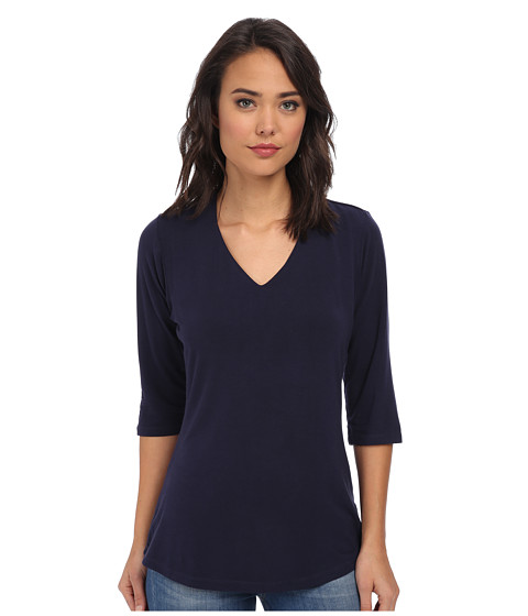 Culture Phit - Modal V-Neck Top (Navy) Women's Clothing