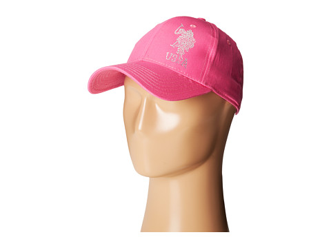 U.S. POLO ASSN. - Rhinestone Logo Adjustable Baseball Cap (Pink) Baseball Caps