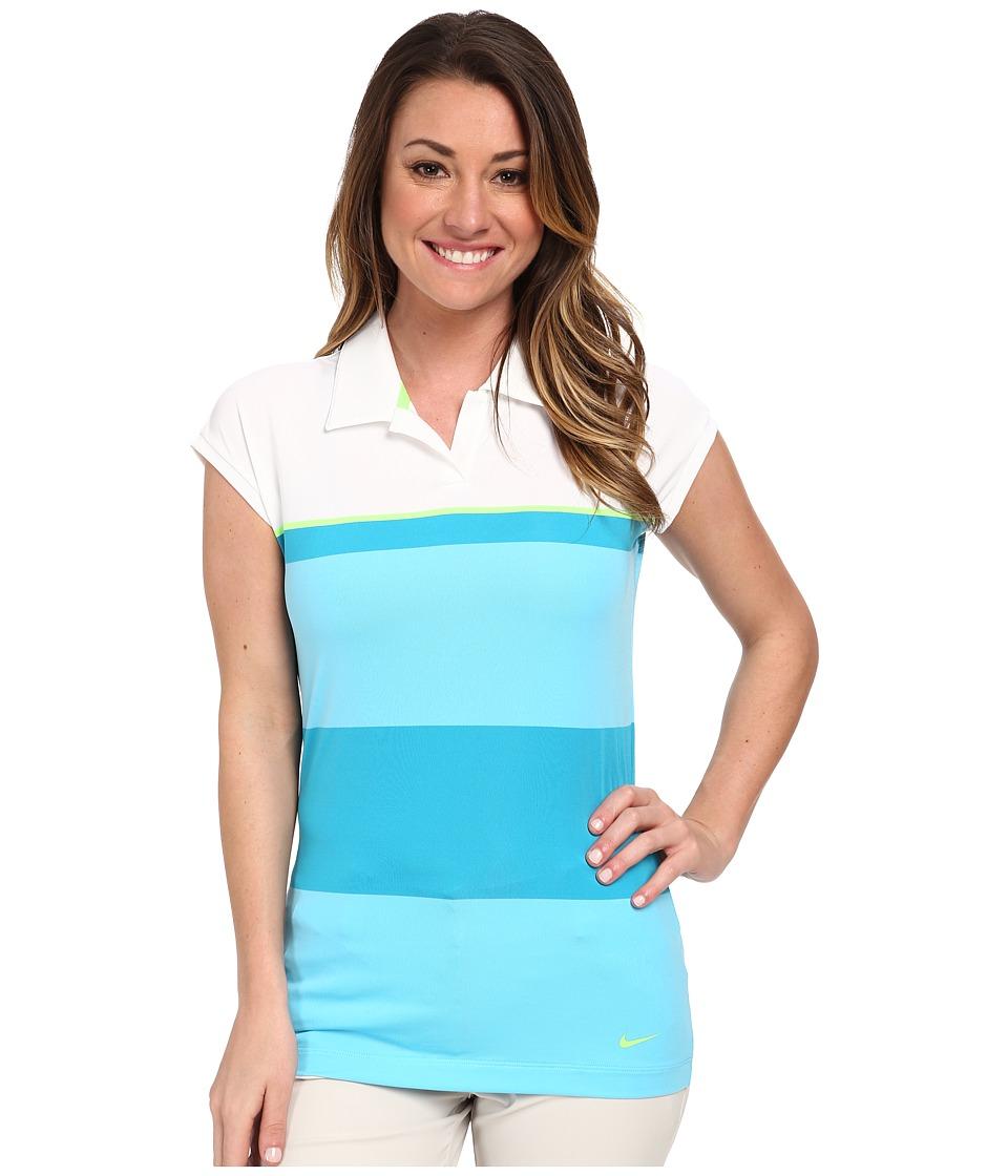 Nike Golf - Sunset Stripe Polo (White/Flash Lime/Flash Lime) Women