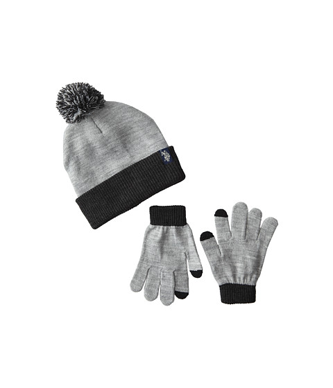 U.S. POLO ASSN. - Two-Tone Cuffed Beanie Touch Glove Set (Heather Grey) Knit Hats