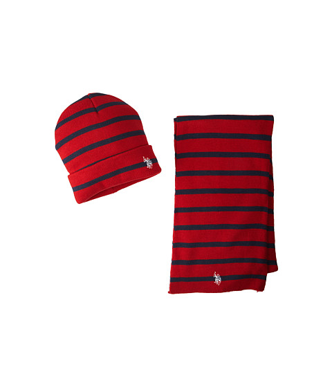 U.S. POLO ASSN. - Stripe Cuffed Beanie and Scarf Set (Red) Knit Hats