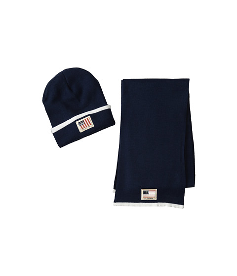 U.S. POLO ASSN. - Cuffed Beanie Scarf Set w/ Printed Canvas Patch (Navy) Knit Hats