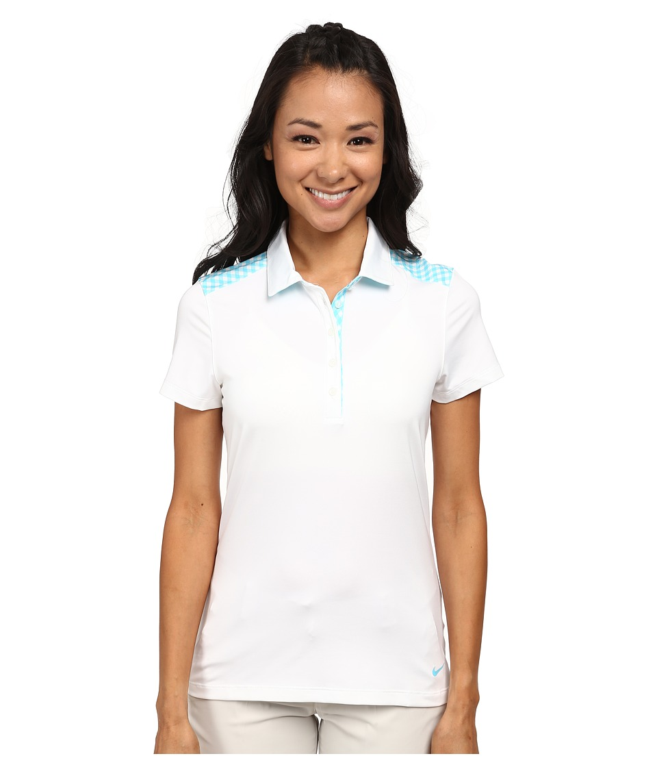 Nike Golf - Gingham Mix Polo (White/Clearwater) Women's Short Sleeve Knit