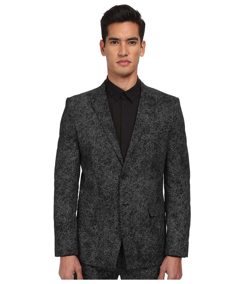HELMUT LANG - Distorted Effect Canvas 2-Button Blazer (Black Multi) Men