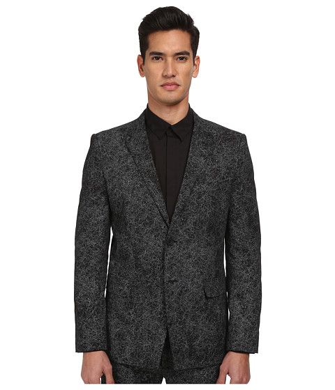 HELMUT LANG - Distorted Effect Canvas 2-Button Blazer (Black Multi) Men's Jacket