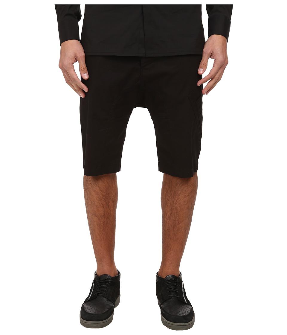 HELMUT LANG - Compact Chino Drop Crotch Cargo Short (Black) Men's Shorts