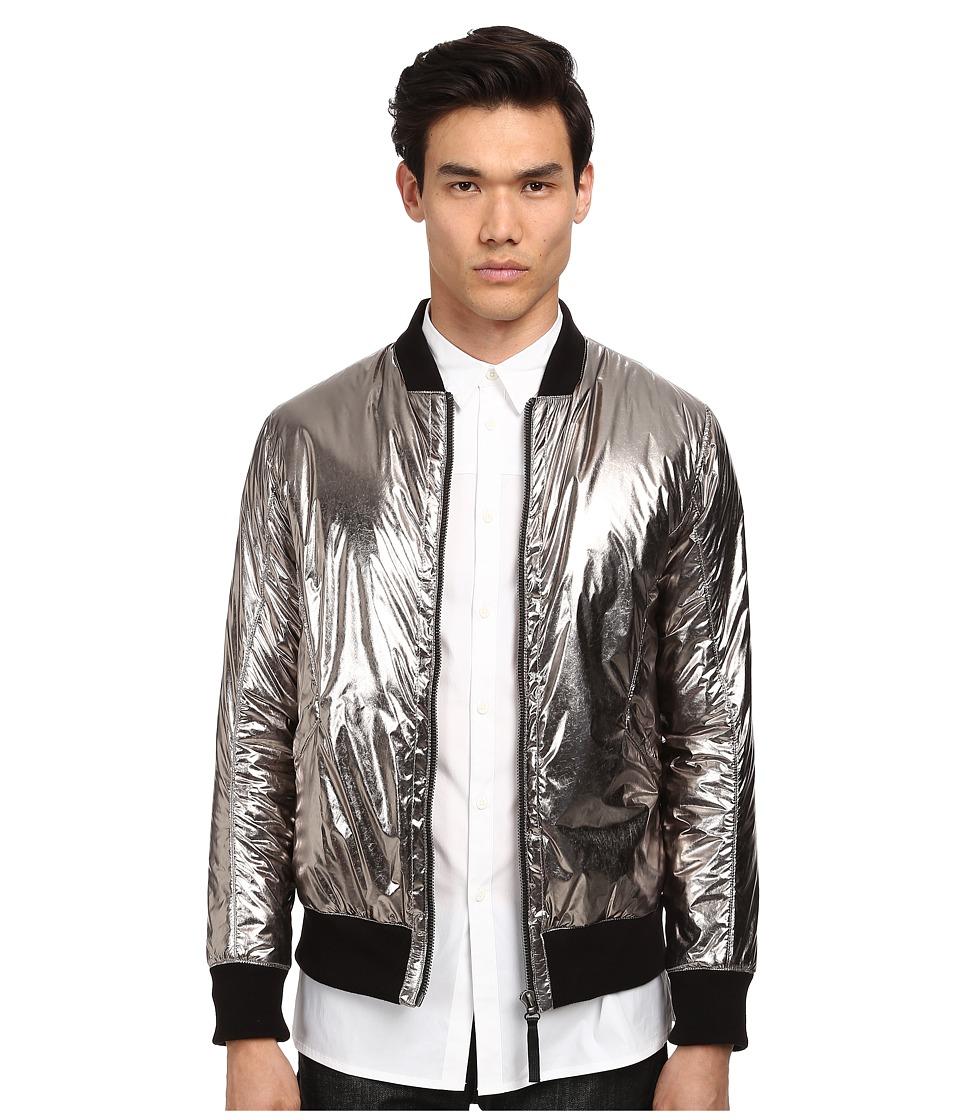 HELMUT LANG - Foil Effect Nylon Padded Bomber Jacket (Silver) Men's Coat