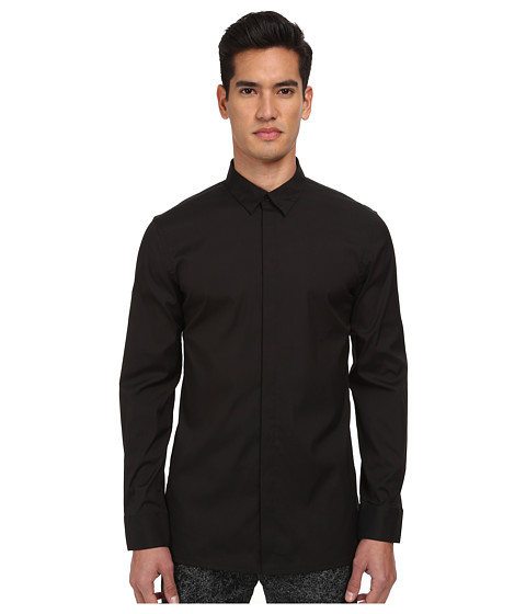 HELMUT LANG - Luxe Shirting Double Collar Shirt (Black) Men's Long Sleeve Button Up