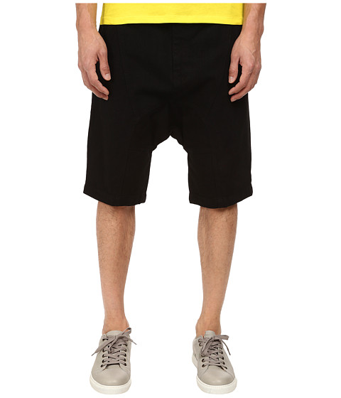 HELMUT LANG - Overdye Black Wash Drop Crotch Short (Black) Men