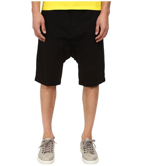 HELMUT LANG - Overdye Black Wash Drop Crotch Short (Black) Men's Shorts
