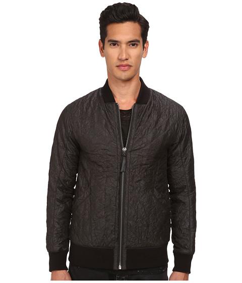 HELMUT LANG - Crinkled Quilt Bomber Jacket (Black) Men's Coat