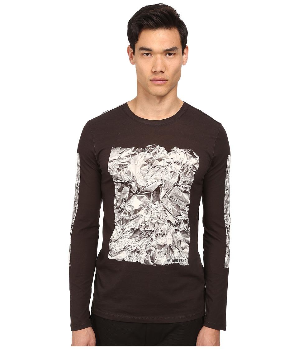 HELMUT LANG - Crumpled Print Jersey L/S Tee (Black) Men's T Shirt