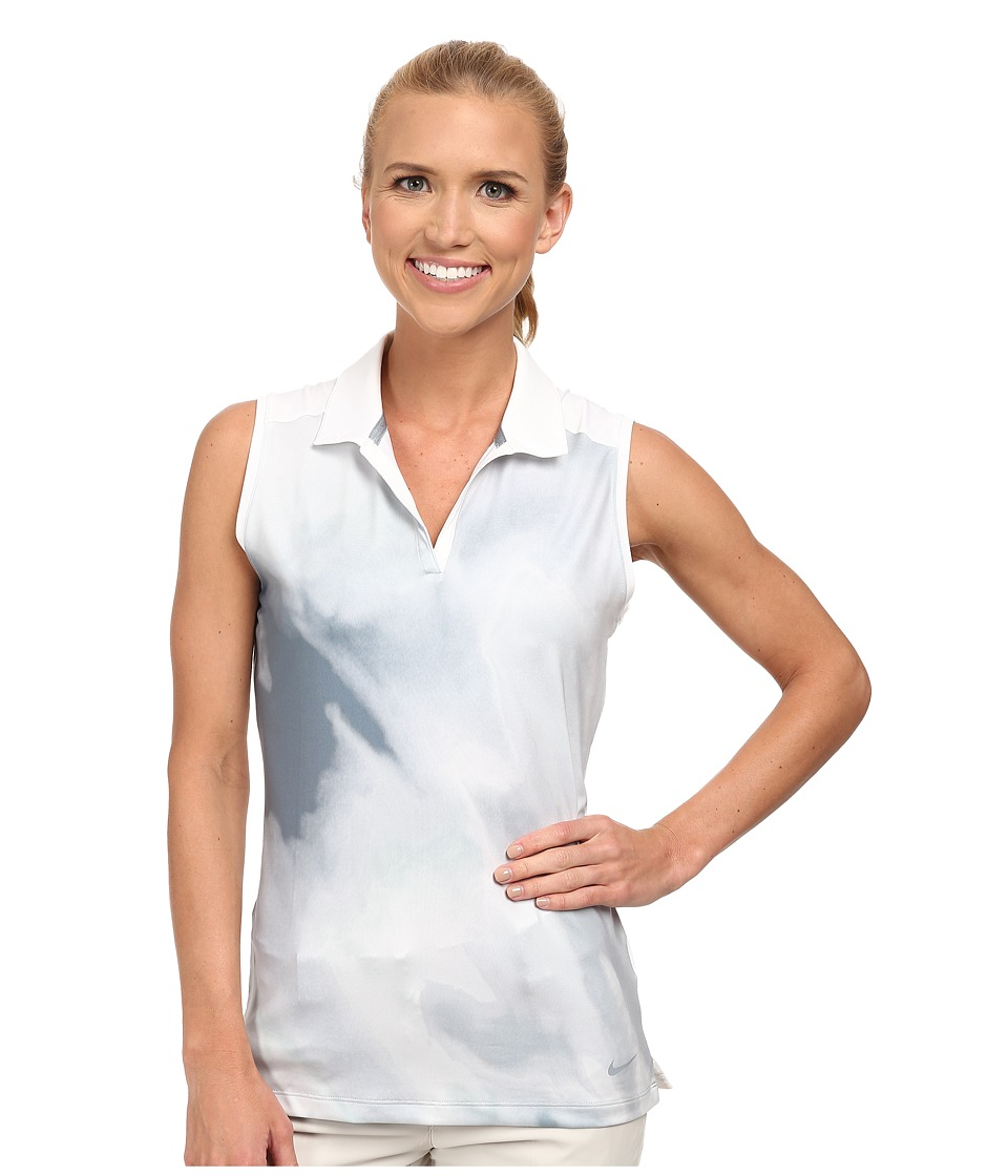 Nike Golf - Printed Sleeveless Polo (Light Magnet Grey/Dove Grey/Blue Graphite/Dove Grey) Women's Sleeveless