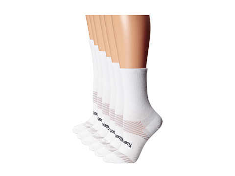 Feetures - High Performance Ultra Light Crew 6-Pair Pack (White) Crew Cut Socks Shoes