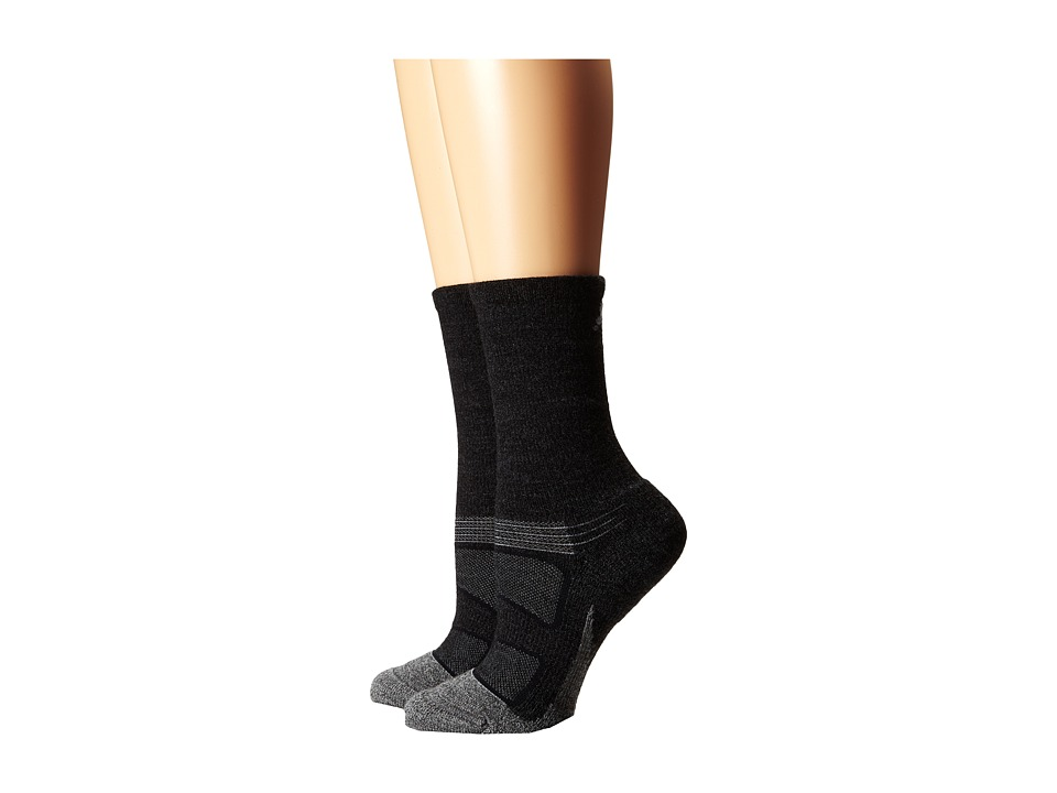 Feetures - Elite Merino + Light Cushion Crew 2-Pair Pack (Charcoal) Crew Cut Socks Shoes