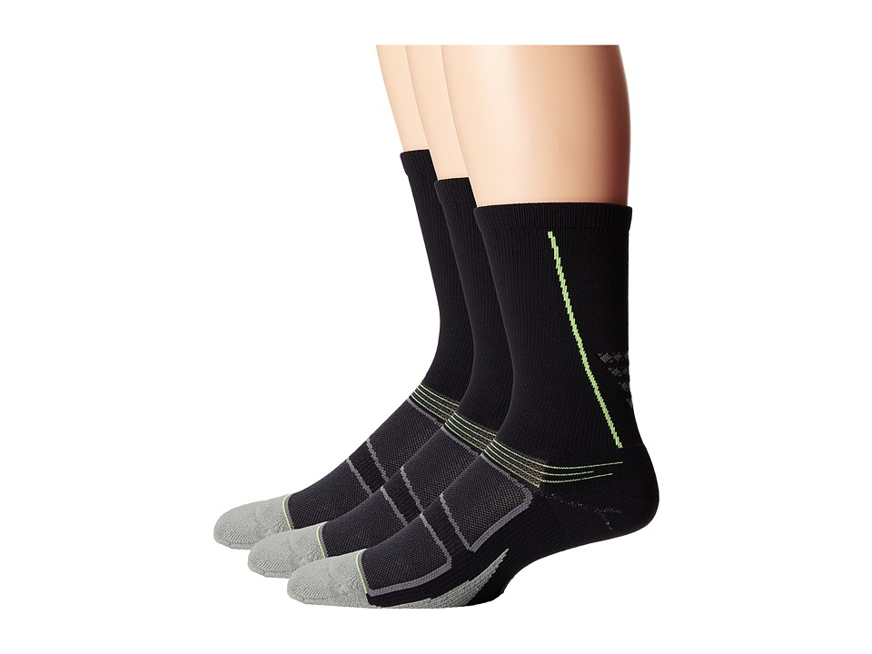 Feetures - Elite Light Cushion Crew 3-Pack (Black/Reflector) Crew Cut Socks Shoes