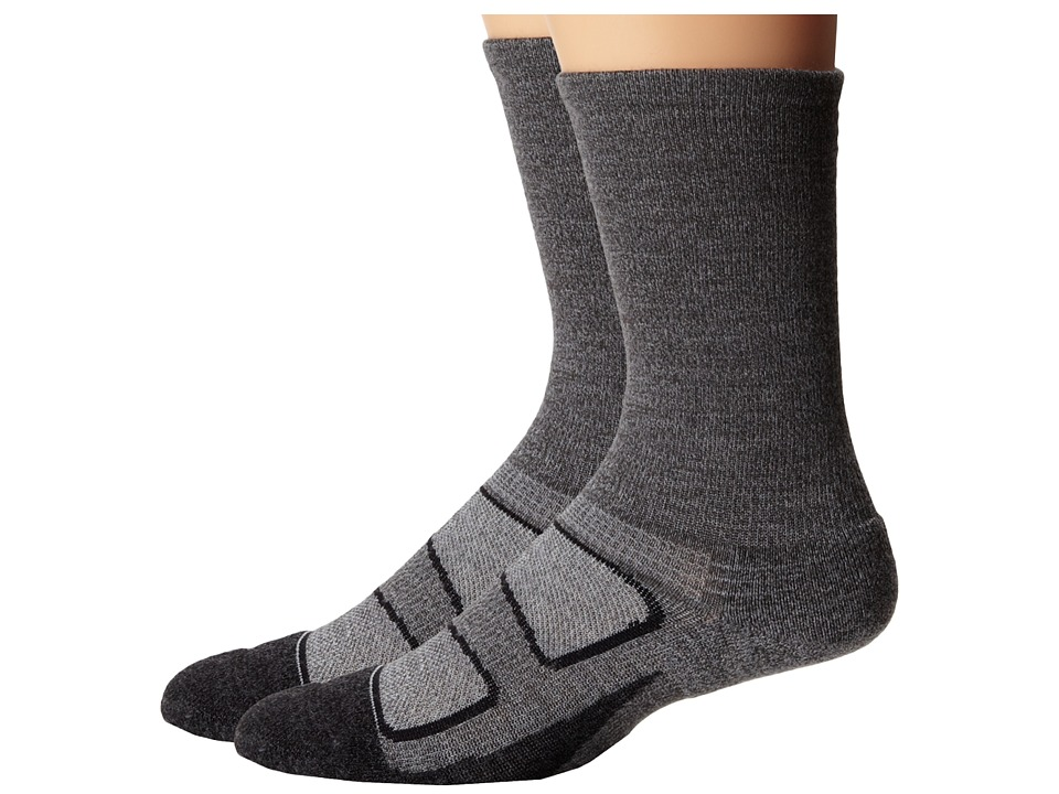 Feetures - Elite Merino + Light Cushion Crew 2-Pair Pack (Gray) Crew Cut Socks Shoes