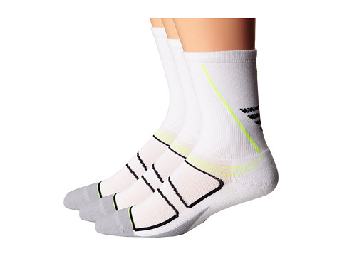 Feetures - Elite Light Cushion Crew 3-Pack (White/Reflector) Crew Cut Socks Shoes