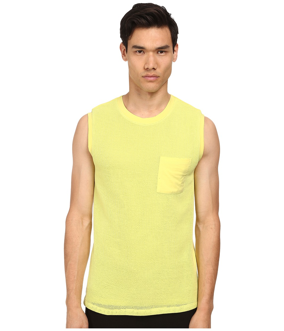 HELMUT LANG - Open Mesh Muscle Tee (Acid Yellow) Men's T Shirt