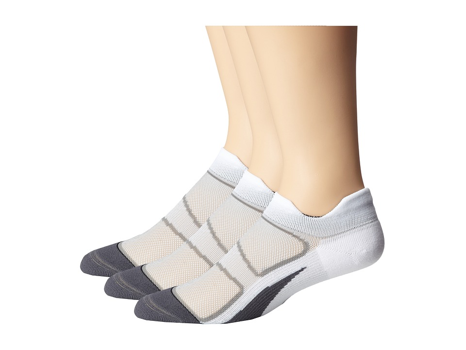 Feetures - Elite Light Cushion No Show Tab 3-Pair Pack (White/Black) No Show Socks Shoes