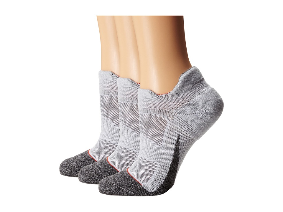 Feetures - Elite Merino + Light Cushion No Show Tab 3-Pair Pack (Silver/Cherry Tomato) No Show Socks Shoes