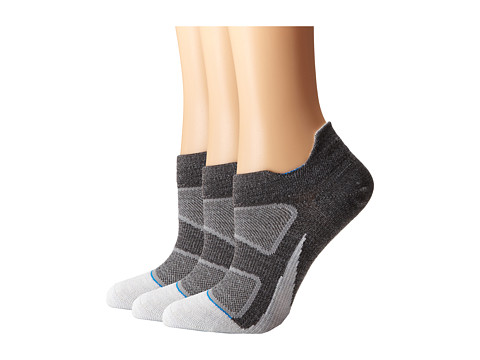 Feetures - Elite Merino + Ultra Light No Show Tab 3-Pair Pack (Gray/Brilliant Blue) No Show Socks Shoes
