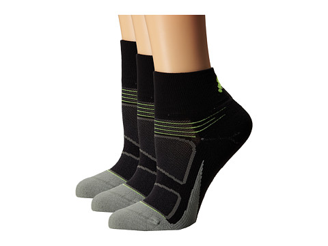 Feetures - Elite Light Cushion Quarter 3-Pair Pack (Black/Reflector) Quarter Length Socks Shoes
