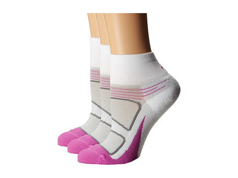 Feetures - Elite Light Cushion Quarter 3-Pair Pack (White/Pink) Quarter Length Socks Shoes
